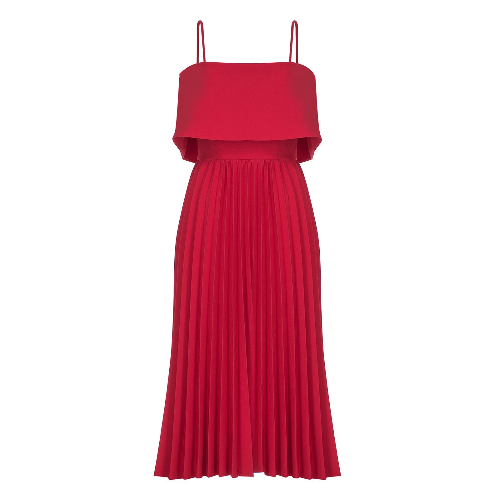 Pileli kırmızı elbise